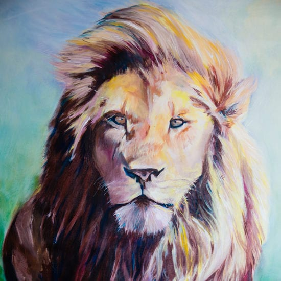 waiting-patiently-lion-acrylic-painting