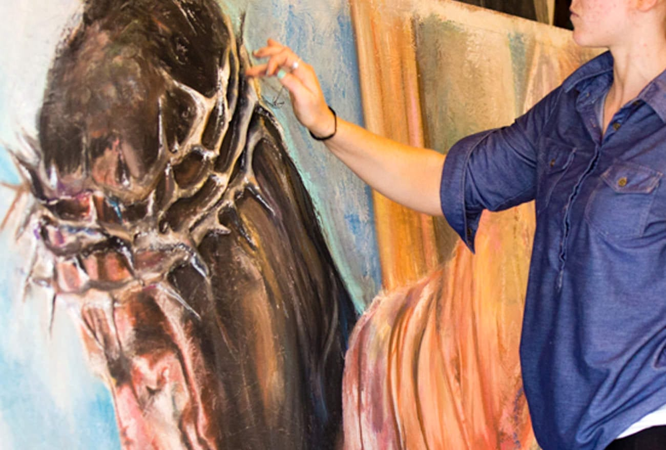 crucifixion-jesus-chalk-pastel-drawing